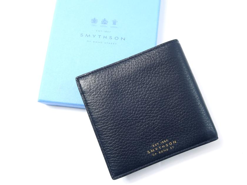 イタリア製 定価3.5万 SMYTHSON スマイソン BURLINGTON 本革 ディアスキン 二つ折り財布 ウォレット 紺 /ki190123_2w