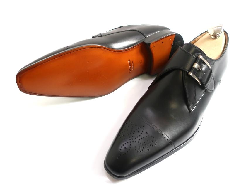 MAGNANNI マグナーニ モンクストラップ ストレートチップ メダリオン 本革 レザーシューズ 革靴 ブラック 41▲300▼00225a10
