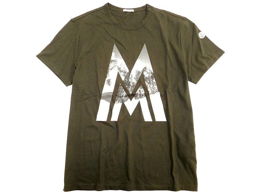 MONCLER モンクレール MAGLIA T-SHIRT クルーネックカットソー ロゴプリント 半袖 Tシャツ カットソー カーキ L(90815x04-01) XL(90815x04-02) ▲150▼90815x04