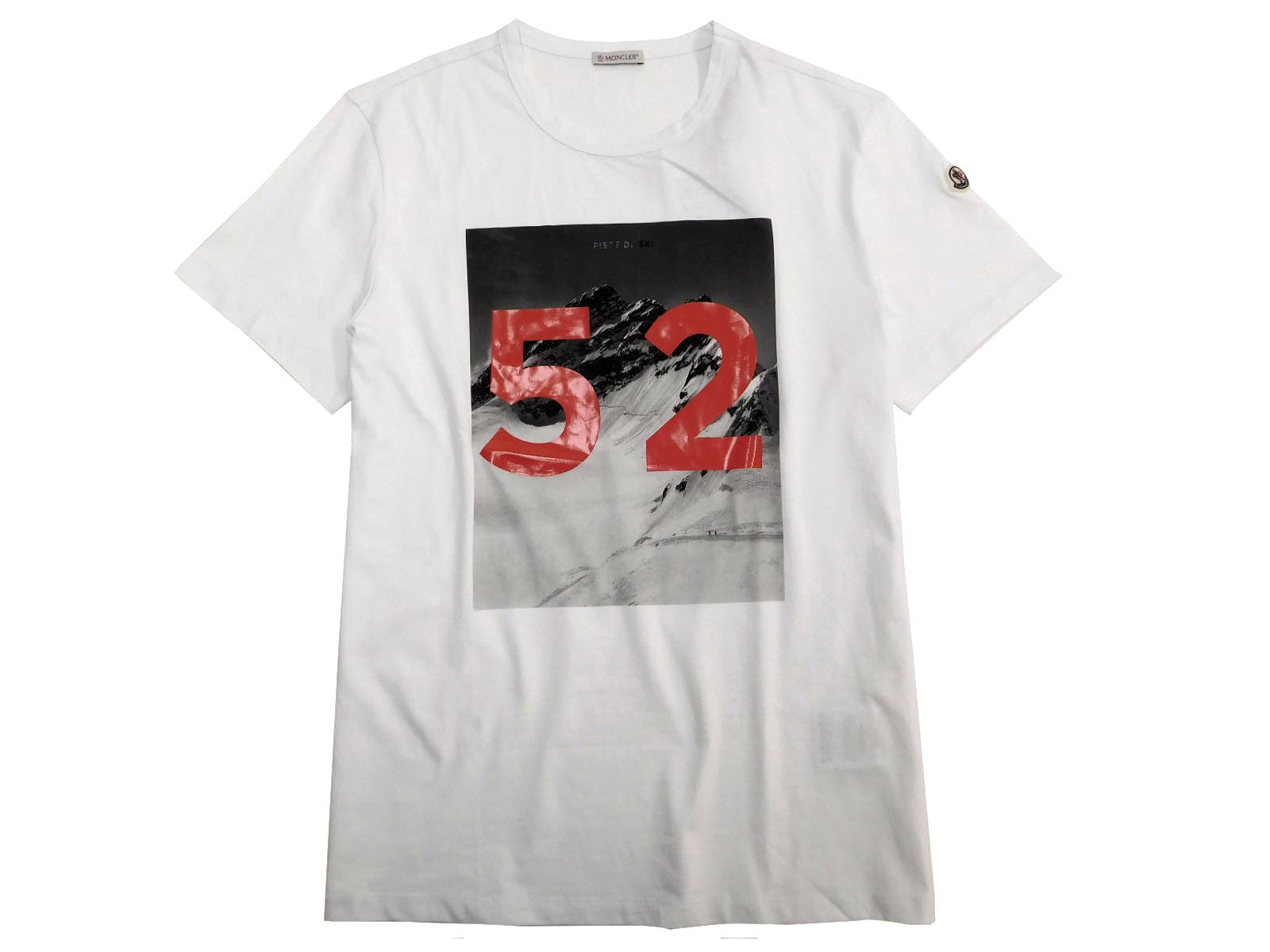 MONCLER モンクレール MAGLIA T-SHIRT クルーネックカットソー PISTE DE SKI ナンバリング プリント 半袖 Tシャツ カットソー ホワイト L ▲150▼90817x04