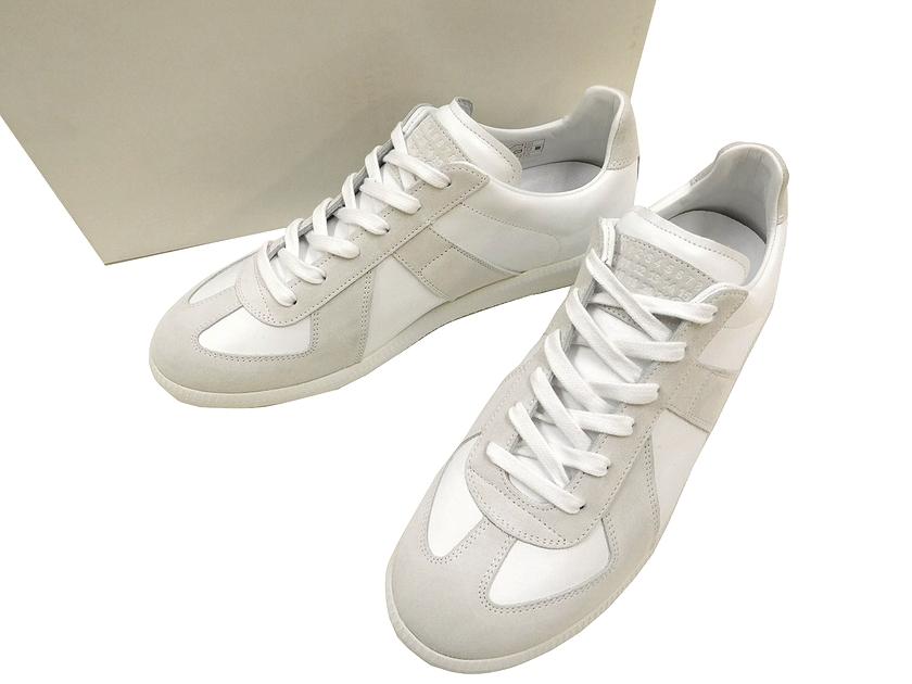Maison Margiela メゾン マルジェラ REPLICA イタリア製 スウェード レザー スニーカー シューズ 靴 ホワイト×グレー 40(1/2)(90823x02-01) 41(1/2)(90823x02-02) 42(1/2)(90823x02-03) ▲150▼90823x02