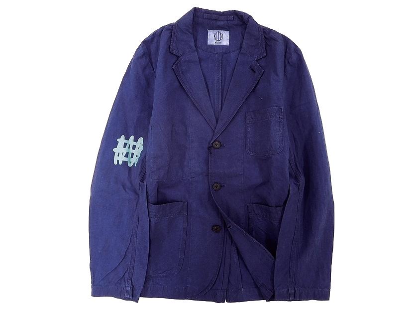 新品 日本製 定価3.7万 KUON クオン 藍染 インディゴ染め 1701J01 ラバープリント コットン リネン カバーオール ジャケット ネイビー インディゴ M /ky190211-2