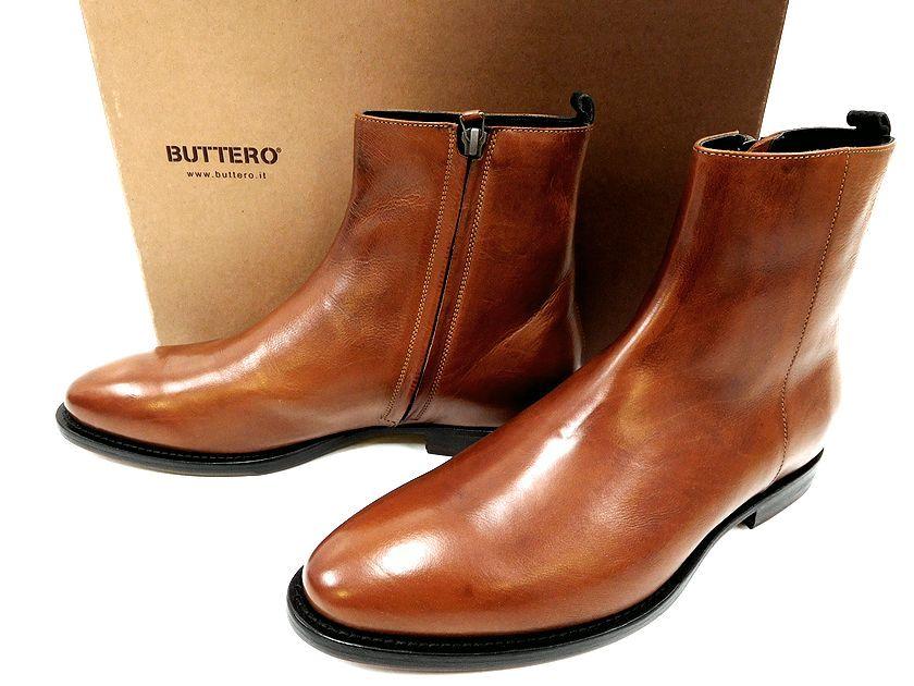 定価7.7万 イタリア製 BUTTERO ブッテロ B7151 サイドジップ ミドル レザー ブーツ 茶 40(ok190121-1)/42(ok190121-2)/メンズ