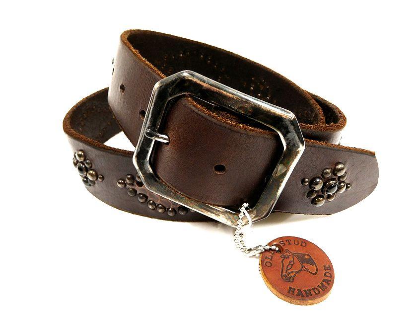 USA製 OLD STUD オールドスタッズ 蛇柄 Diamond Back Belt レザースタッズベルト ダークブラウン 32 /sh20180220-1 /メンズ
