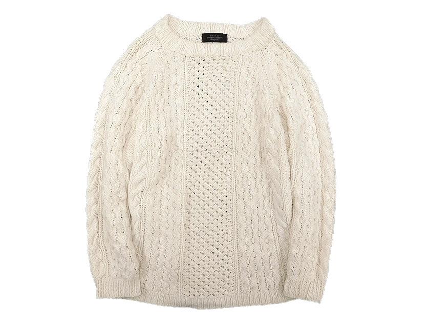 中古 定価3.3万 UNUSED アンユーズド US0954 Hand-knit cable crew neck sweater ケーブル フィッシャーマンニット アイボリー系 1 /sh20180516-1 /メンズ