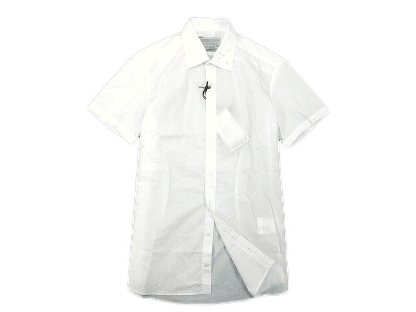定価3.5万 17SS kolor カラー 17SCMB06112 embroidered collar shirt 刺繍入り コットン 半袖シャツ ホワイト 2(sh20180521-4) 3(sh20180521-5) /メンズ