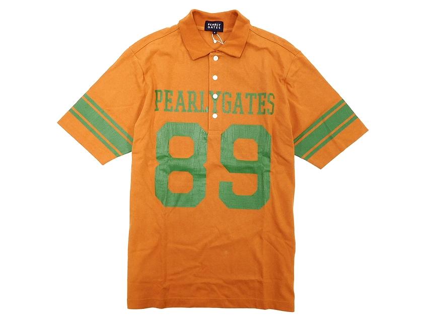 日本製 PEARLY GATES パーリーゲイツ ゴルフ ボタンダウン コットン ダメージロゴプリント 半袖ポロシャツ オレンジ 4(sh20180702-1)・5(sh20180702-2) /メンズ