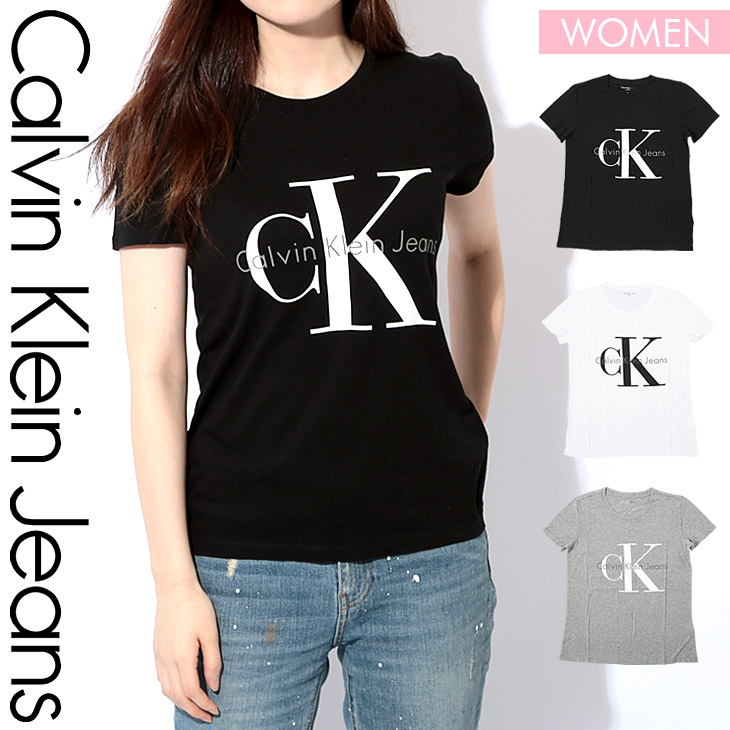 d388163f9 It is I memorial day in Calvin Klein T-shirt Lady's short sleeves  cut-and-sew crew neck REISSUE BIG LOGO Shin pull logo tops fashion CK  carbane Calvin ...