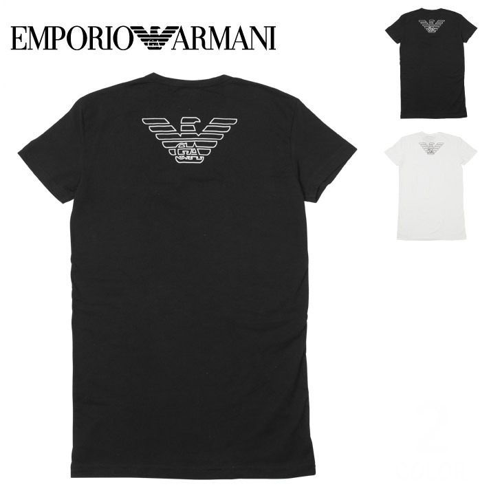 cb590bae75 Emporio Armani T-shirt men short sleeves V neck tops cut-and-sew plain  fabric logo eagle one point EA STRETCH COTTON EAGLE EMPORIO ARMANI petit  gift ...