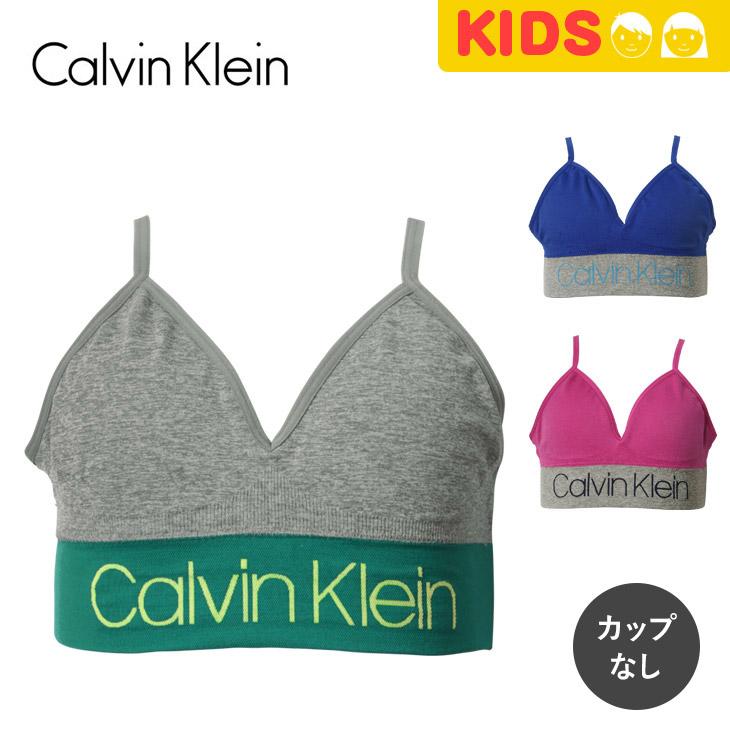 156e440022 Child gift of the Calvin Klein sports bra kids underwear underwear  ジュニアガールズハーフトップファーストブラスポブラ GCK Calvin Klein logo brand one point ...