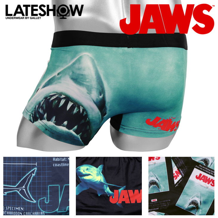 JAWS/ jaws X LATESHOW/ late show boxer underwear men underwear  collaboration character movie fashion pretty cool petit gift birthday  present boyfriend