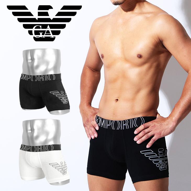 c6cd8e22a0 Emporio Armani long boxer underwear men's longish underwear plain fabric  logo eagle one point EA STRETCH COTTON EAGLE EMPORIO ARMANI swimsuit inner  ...