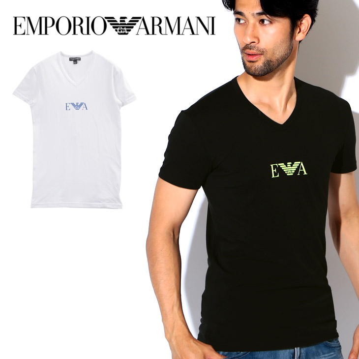 b0fe975be Gift summer I male in Emporio Armani T-shirt men short sleeves V neck tops  cut-and-sew EMPORIO ARMANI MONOGRAM plain fabric logo one point brand petit  gift ...
