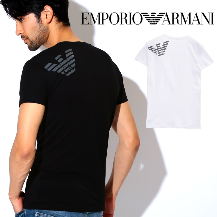 4056d6ea6 Gift summer I male in Emporio Armani T-shirt men short sleeves V neck tops  cut-and-sew EMPORIO ARMANI BIG EAGLE plain fabric logo one point brand  petit gift ...