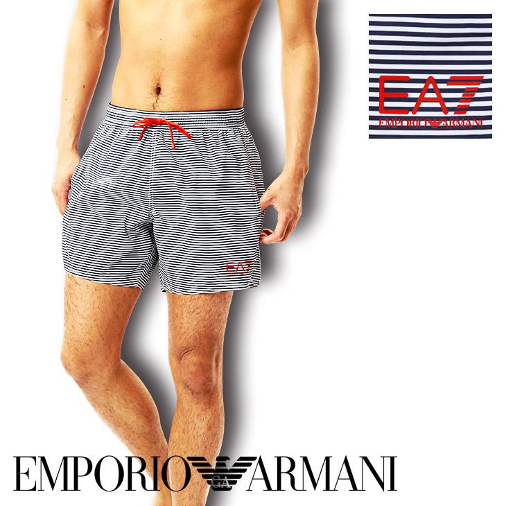 エンポリオ アルマーニ 水着 メンズ サーフパンツ ボードショーツ ショート丈 SEA WORLD BW STRIPES ロゴ スイムウェア ビーチウェア ショートパンツ EMPORIO ARMANI 誕生日プレゼント 彼氏 父 男性 ギフト