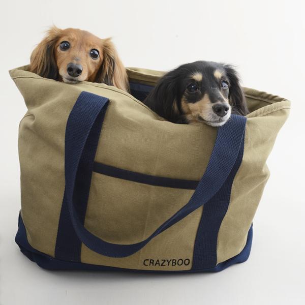 しっかりとした厚手のキャンバス地のオシャレトートバッグ。 CRAZYBOO / クレイジーブーキャンバス トートバッグ(Khaki)犬服 / 犬の服 / ドッグウェア