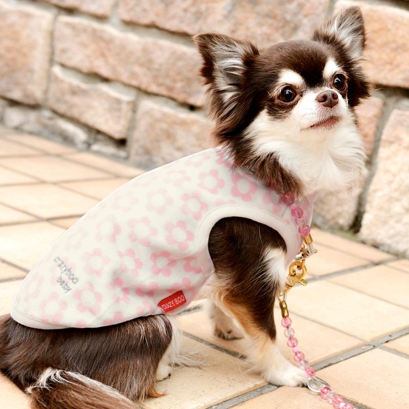 ベロア素材のキュートなフラワー柄タンクトップ CRAZYBOO Baby クレイジーブー ベビー BABY花柄タンクトップ2XS 全品最安値に挑戦 犬の服 休み Mサイズ犬服 S ドッグウェア XS
