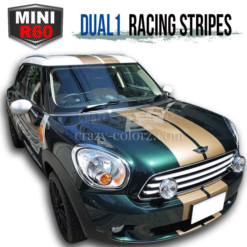 BMW MINI クロスオーバー&カントリーマン レーシングストライプ DUAL2 crossover&countryman R60 racing stripe デカール ステッカーカスタム オート パーツ ドレスアップ DIY custom auto parts