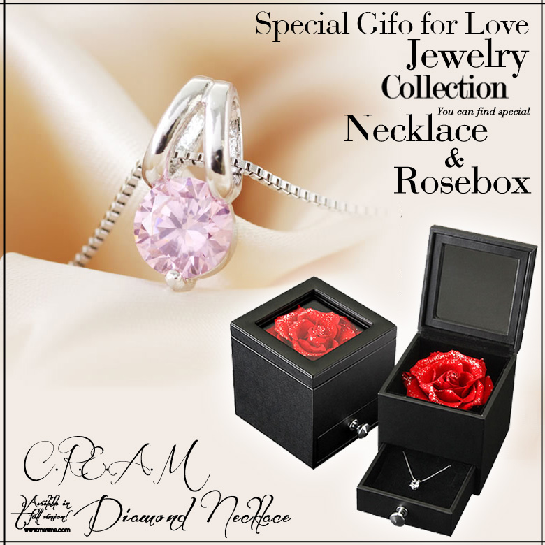 ROSA D'amore◆天然使用ローズジュエリーBOX&豪華1.75ctピンクネックレス[誕生日プレゼントや結婚記念日のプレゼントに最適][彼女・女性・女友達・妻]