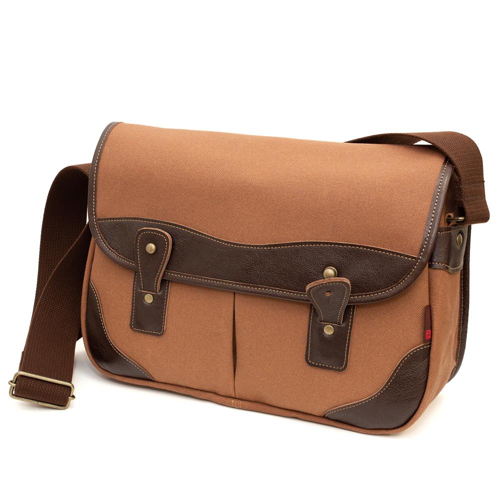 [creareきき]柿渋染 ショルダーバッグ メンズ 革付属 斜めがけ 京都 帆布 バッグ 鞄「ビッグゲームバッグ」日本製 KS-301