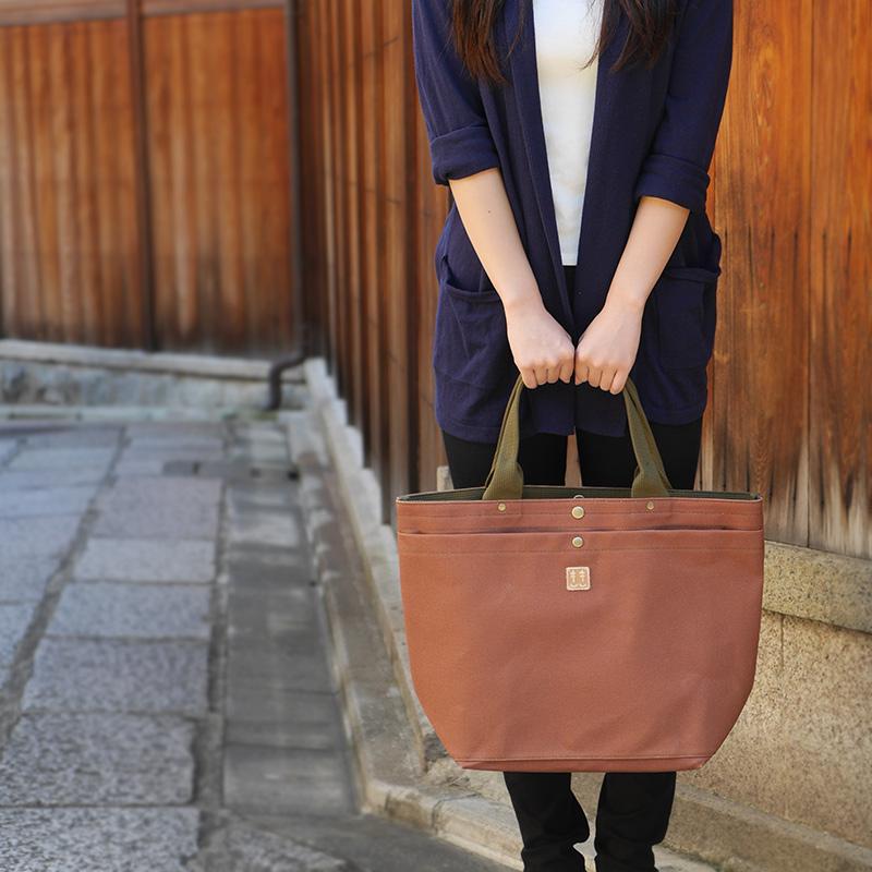 柿渋染 日本製 トートバッグ 帆布 レディース/メンズ キャンバス/布 京都帆布バッグ