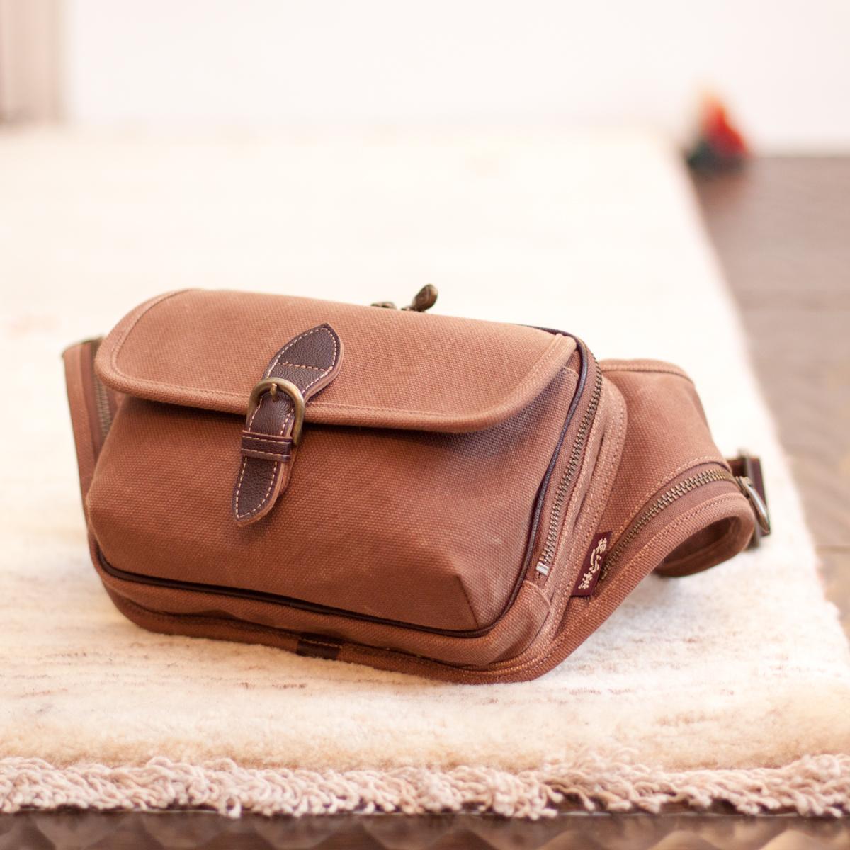 柿渋染 日本製 メンズ ショルダーバッグ 斜めがけ 京都 帆布 バッグ 鞄 「清水」 帆布生地