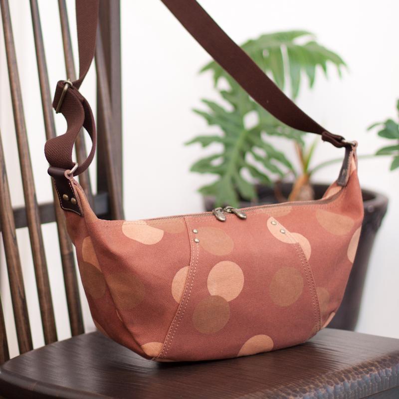柿渋染 日本製 京都 帆布 バッグ 鞄「」『花見小路』ボディーバッグ【送料無料】