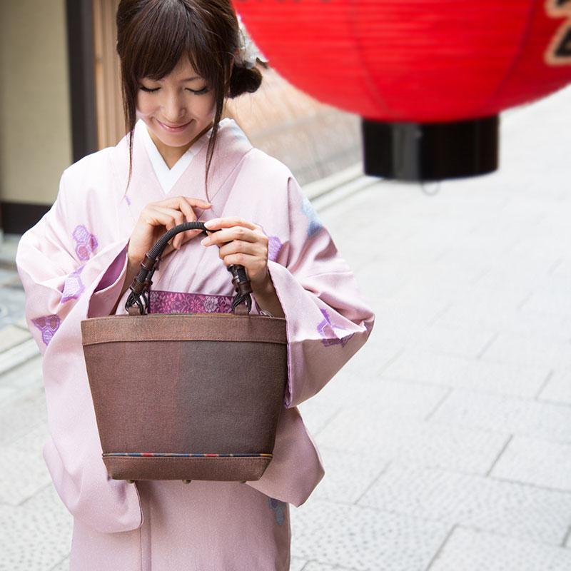 [壺渋 こしぶ]柿渋染 トートバッグ 革付属 帆布 キャンバス レディース 高級 着物 和装 バッグ 手提げ《あぼかど》京都(鞄)日本製