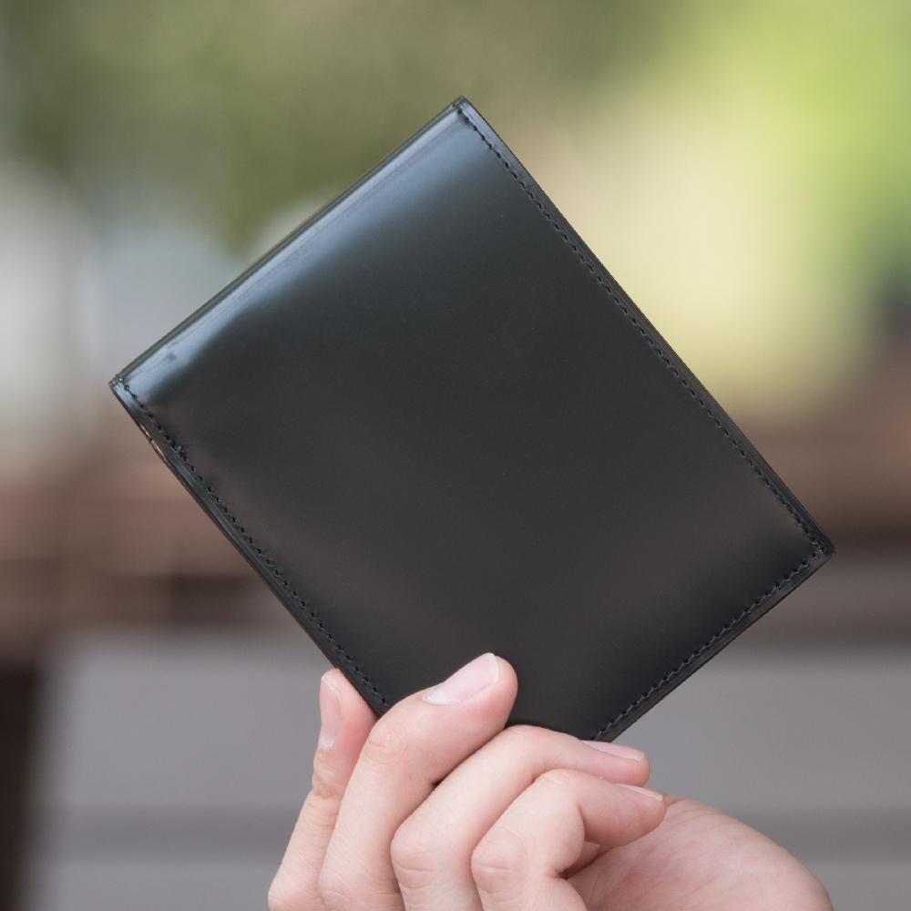 コードバン 馬革 純札 二つ折財布 革財布 メンズ[名入れ刻印] Glucklicher Kerl(ギリュックリヒャ ケアル) GK-011