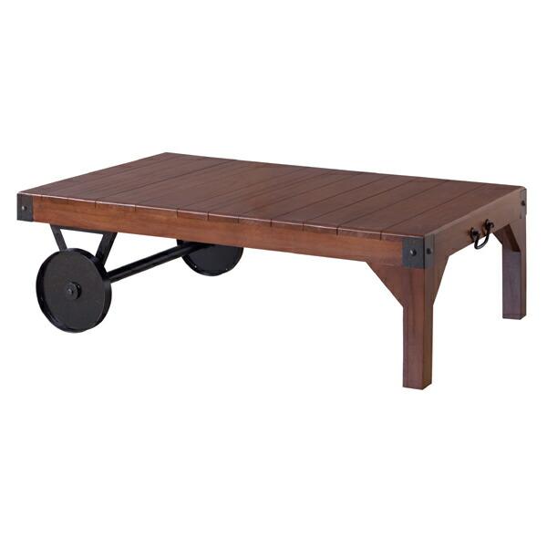 トロリーテーブル ルオーターベンチ ガーデンベンチ 木テーブル 天然木 アイアン 車輪 車輪付き ガーデン 庭 屋内 屋外 お洒落 おしゃれ TTF-116 MMAZTTF-116