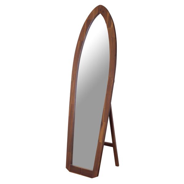 天然木 サーフミラー 姿見鏡 アカシア 全体 サーフ 自立式 木目 大きい鏡  W48cm×D39cm×H160cm MMAZTSM-532 TSM-532