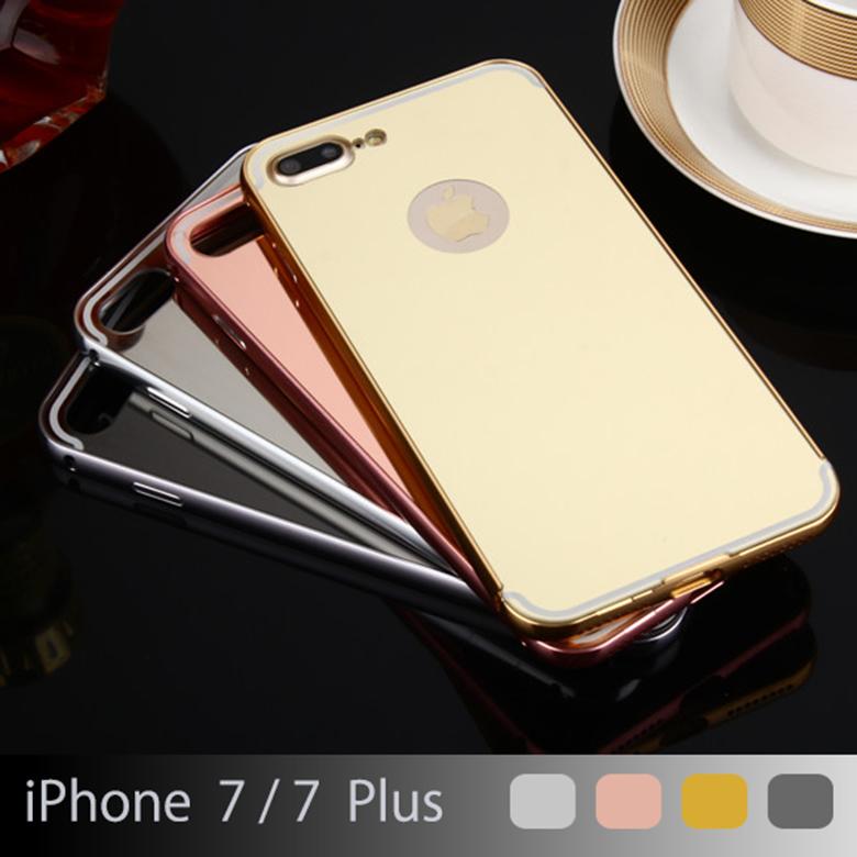 【送料無料 メール便発送】 iPhone 7 / iPhone 7 Plus 専用ケース アルミ枠 鏡面ミラー 【iPhone7Plus ケース アルミバンパー 鏡面バックプレート Case カバー アクセサリー iPhone7 用】