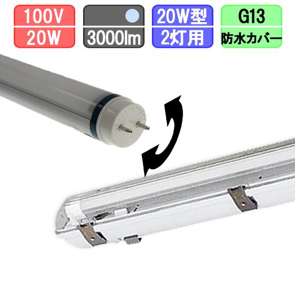 20W・2灯用防水カバー型器具とLED蛍光灯 角度可変節 高輝度 20W形 1500lm×2本 昼光色