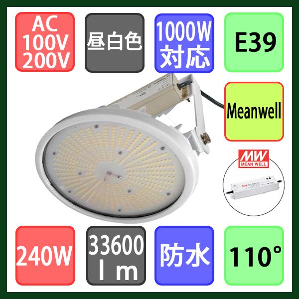 高天井用投光器 水銀灯1000W対応 直付け型 LED 昼白色 240W
