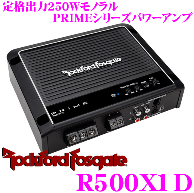 RockfordFosgate Rockford PRIME R500X1D rating output 250W sub woofer power amp