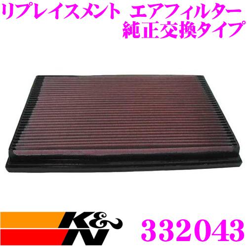 K&N 純正交換フィルター 33-2043ボルボ 7B200 / 7TB230 740用などリプレイスメント ビルトインエアフィルター純正品番12575460対応