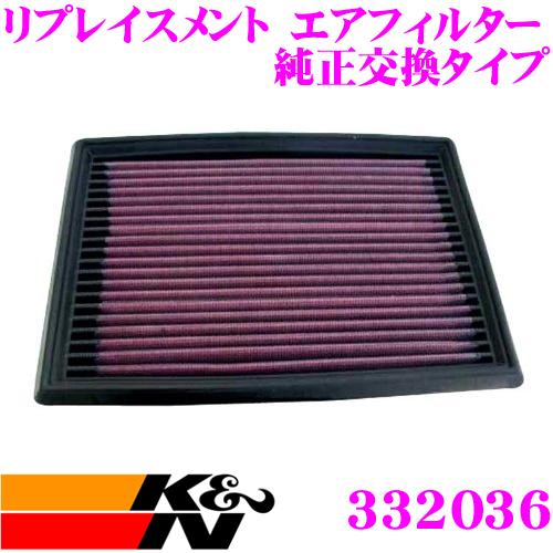 K&N 純正交換フィルター 33-2036ニッサン YF15 / F15 / NF15 ジューク用などリプレイスメント ビルトインエアフィルター純正品番AY120-NS022対応