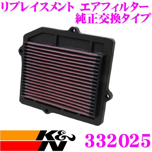 K&N 純正交換フィルター 33-2025 ホンダ EF7 / EF3 / EF5 シビック用などリプレイスメント ビルトインエアフィルター 純正品番17220-PM7-000対応