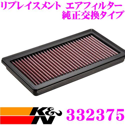 K&N 純正交換フィルター 33-2375ニッサン キューブ/キューブキュービック など 用リプレイスメント ビルトインエアフィルター純正品番:AY120-NS045対応