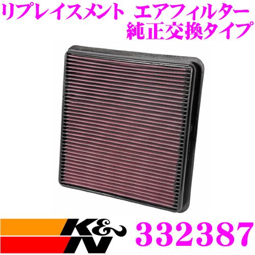 K&N 純正交換フィルター 33-2387トヨタ タンドラ/セコイヤ/ランドクルーザー 用リプレイスメント ビルトインエアフィルター純正品番:17801-38030対応