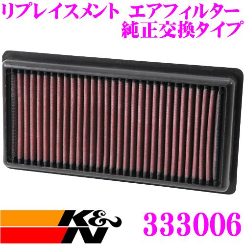 K&N 純正交換フィルター 33-3006プジョー A9CHM01 / A9HM01 208用などリプレイスメント ビルトインエアフィルター純正品番9674725580対応