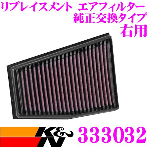 K&N 純正交換フィルター 33-3032 アウディ 8TCFSF / 8FCFSF RS5 8T(B8)用 右用リプレイスメント ビルトインエアフィルター 純正品番8T0133843A / 8T0133844A対応