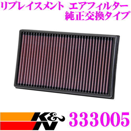 K&N 純正交換フィルター 33-3005 アウディ 8VCJSF / 8VCJSL A3 8V用などリプレイスメント ビルトインエアフィルター 純正品番5Q0129620B対応