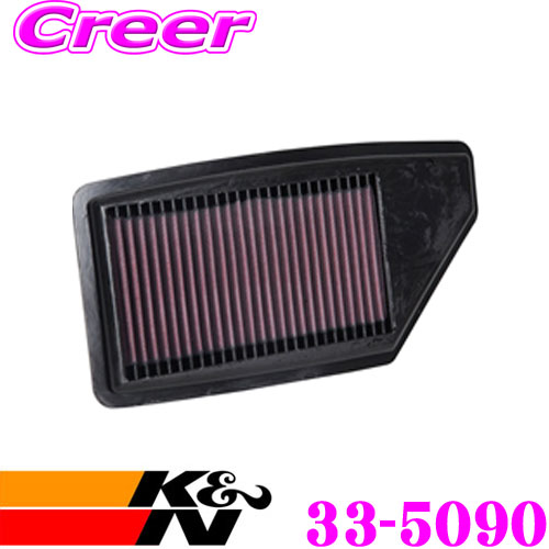 K&N 純正交換フィルター 33-5090 ホンダ インサイト ZE4リプレイスメント エアフィルター 純正品番17220-6L2-A01対応