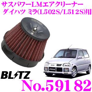 BLITZ ブリッツ No.59182 ダイハツ ミラ[ターボエンジン](L502S/L512S)用 サスパワー コアタイプLM エアクリーナーSUS POWER CORE TYPE LM-RED