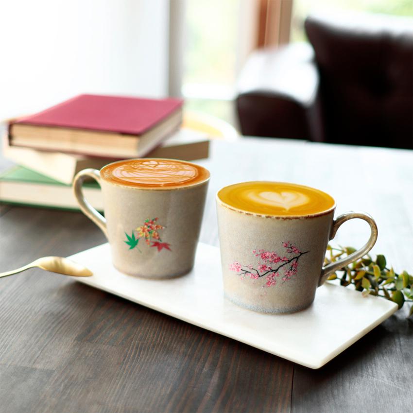 丸モ高木陶器 販売実績No.1 温度をデザインに 桜 表 紅葉 裏 温感灰ウノフ窯変マグカップ 丸モロゴ入1個箱温感 結婚祝い 父の日 コーヒー AL完売しました。 お中元 あす楽 母の日 お茶をより楽しむためマグカップ