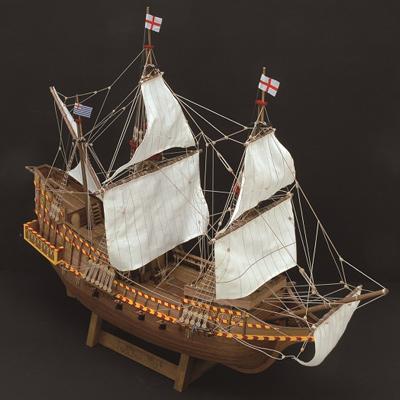 【日本製】1/50 ゴールデンハインド【大型帆船シリーズ】【ウッディジョーの木製模型】WoodyJOE【代引不可】