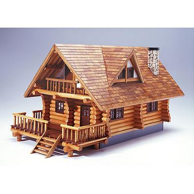 【日本製】木製1/24 ログハウス【ウッディジョーの木製模型】WoodyJOE【代引不可】