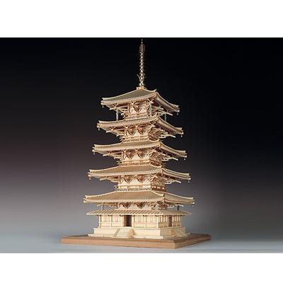 【日本製】<br />建築1/75 法隆寺 五重塔<br />【ウッディジョーの木製模型】WoodyJOE<br />【代引不可】