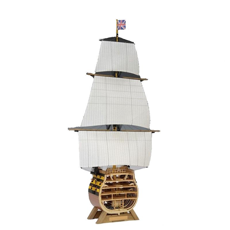 【日本製】1/160ビクトリー カットモデル(帆付)【ウッディジョーの木製模型】WoodyJOE【代引不可】